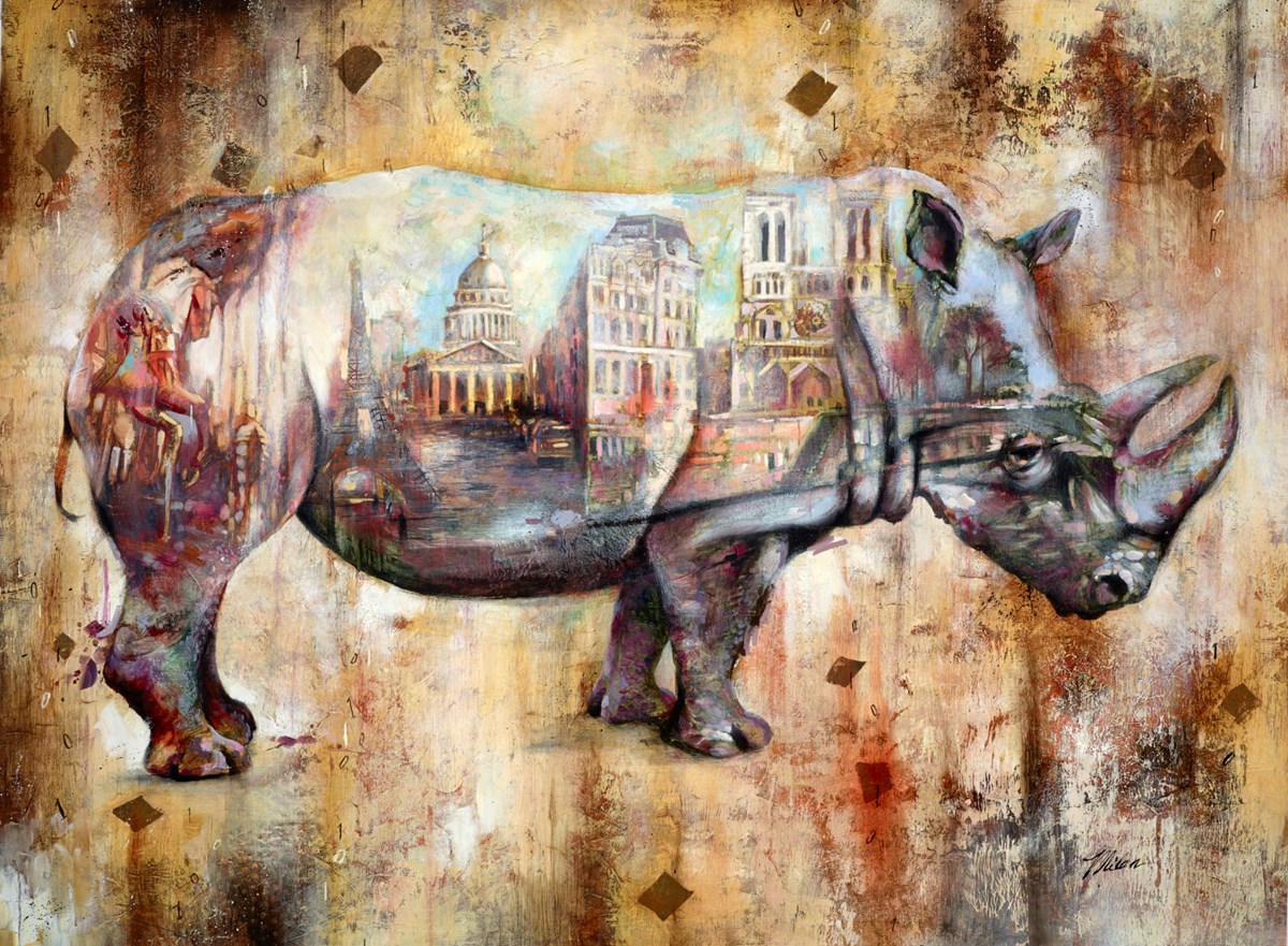 Rhinoceros, Paris by john and elli milan -  sized 40x30 inches. Available from Whitewall Galleries